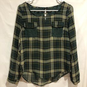 E hanger M green plaid top Anthropologie size S